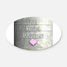 10th Wedding Anniversary Oval Car Magnet