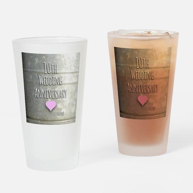 10th Wedding Anniversary Drinking Glass
