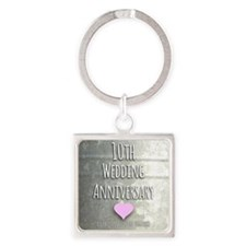 10th Wedding Anniversary Keychains