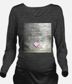 10th Wedding Anniversary Long Sleeve Maternity T-S