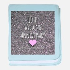 10th Wedding Anniversary baby blanket