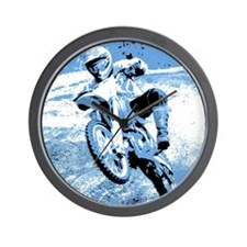 Blue dirt bike wheeling in mu Wall Clock