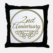 2nd Anniversary Throw Pillow