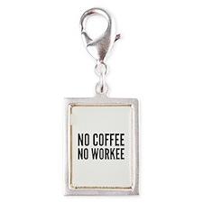No Coffee No Workee Silver Portrait Charm