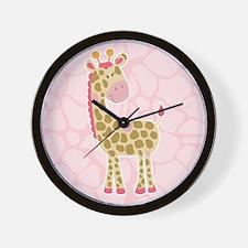 Pink Giraffe Shower Curtain Wall Clock