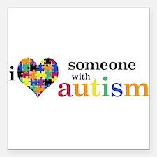 """Cute Autism Square Car Magnet 3"""" x 3"""""""