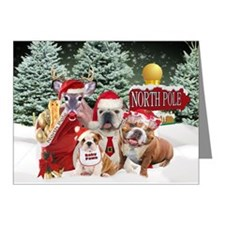 Bulldogs Santas Family Xmas Card Final Note Cards