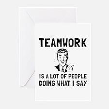 Teamwork Say Greeting Cards