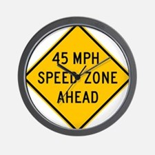 Speed Zone Ahead Wall Clock