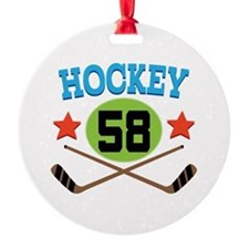 Hockey Player Number 58 Round Ornament