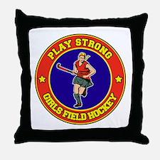 Girl's Field Hockey Throw Pillow