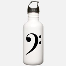 Bass Clef in Gold Water Bottle
