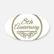 8th Anniversary Oval Car Magnet