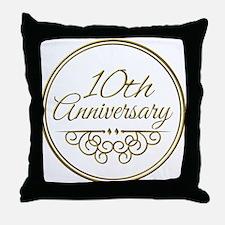 10th Anniversary Throw Pillow