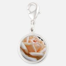 toronto peach rose  Silver Round Charm