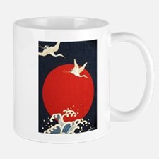 TWO CRANES AGINST THE MOON Mugs