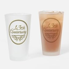 13th Anniversary Drinking Glass