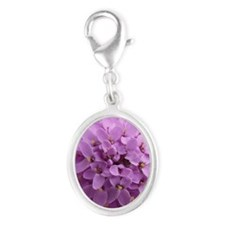 the purple flower Silver Oval Charm