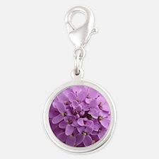 the purple flower Silver Round Charm