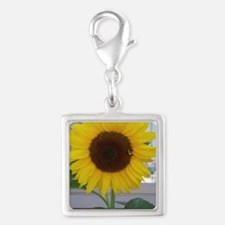 sunflower Silver Square Charm