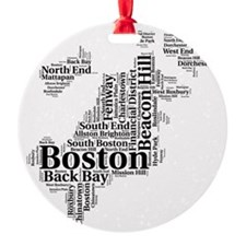 Boston Neighborhoods Cloud Map Ornament