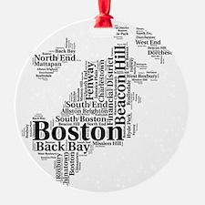 Boston Neighborhoods Cloud Map Ornament