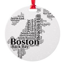 Boston Neighborhoods Cloud Map Round Ornament