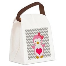 PINK PENQUIN ON CHEVRON Canvas Lunch Bag