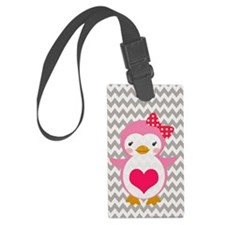 PINK PENQUIN ON CHEVRON Luggage Tag