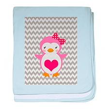 PINK PENQUIN ON CHEVRON baby blanket