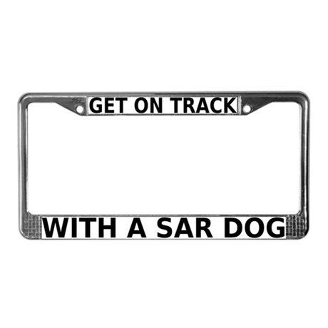 on track with sar license plate frame by dogplay. Black Bedroom Furniture Sets. Home Design Ideas