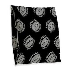 1954 Vintage (Black & Silver) Burlap Throw Pillow