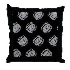 1954 Vintage (Black & Silver) Throw Pillow