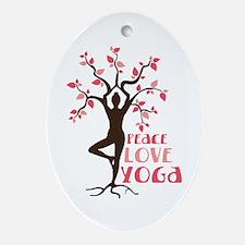 PEACE LOVE YOGA Ornament (Oval)