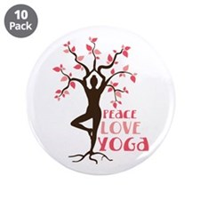"PEACE LOVE YOGA 3.5"" Button (10 pack)"