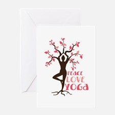 PEACE LOVE YOGA Greeting Cards