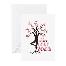 PEACE LOVE YOGA Greeting Cards