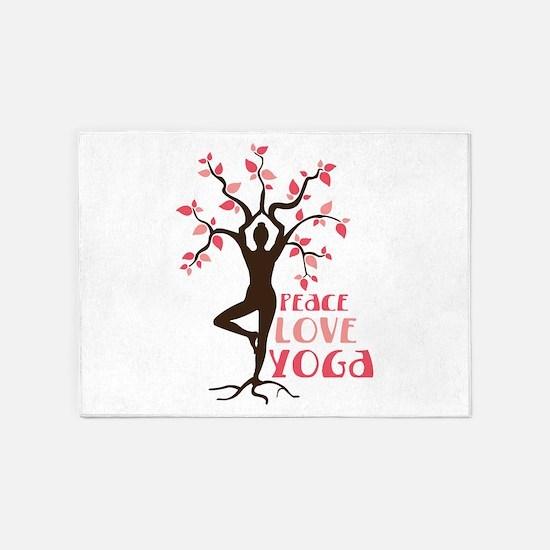 PEACE LOVE YOGA 5'x7'Area Rug
