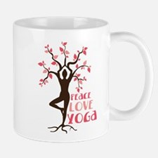 PEACE LOVE YOGA Mugs