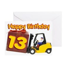 13th birthday card with a fork lift truck Greeting