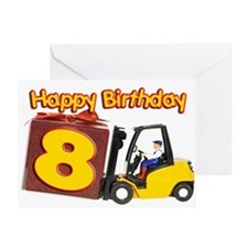 8th birthday card with a fork lift truck Greeting