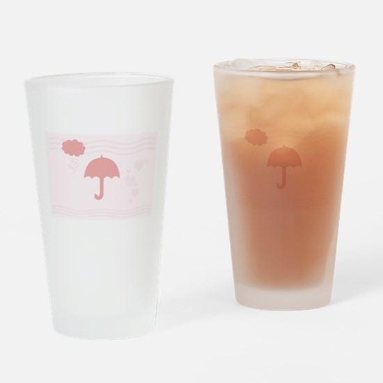Pink Romantic Hearts Drinking Glass