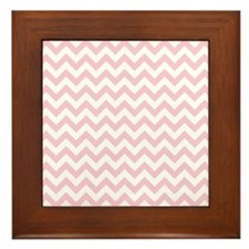 Soft Pink White ZigZag Framed Tile
