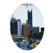 Pittsburgh Sketch Oval Ornament