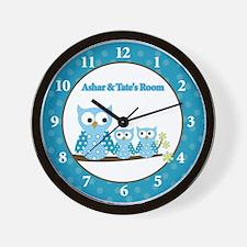 Blue Hoot Owls Clock - Custom Ashar/Tate Wall Cloc