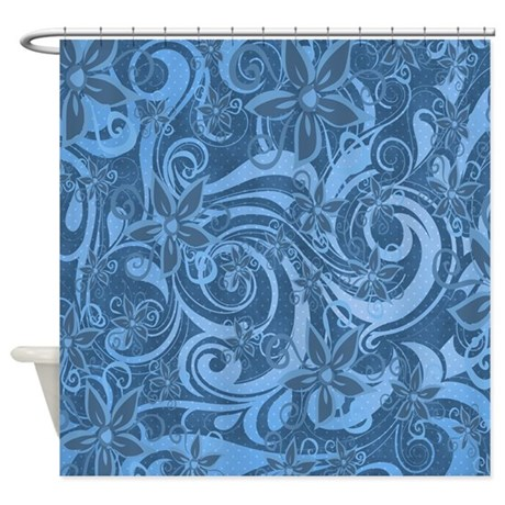Blue Floral Swirl Shower Curtain By Artisticimpressions