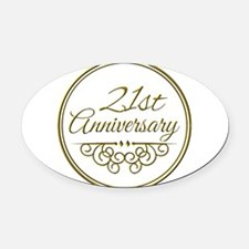 21st Anniversary Oval Car Magnet