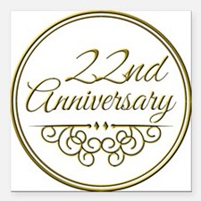 """22nd Anniversary Square Car Magnet 3"""" x 3"""""""