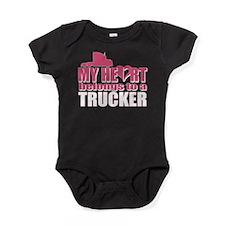 My Heart Belongs To A Trucker Baby Bodysuit