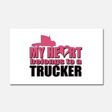 My Heart Belongs To A Trucker Car Magnet 20 x 12